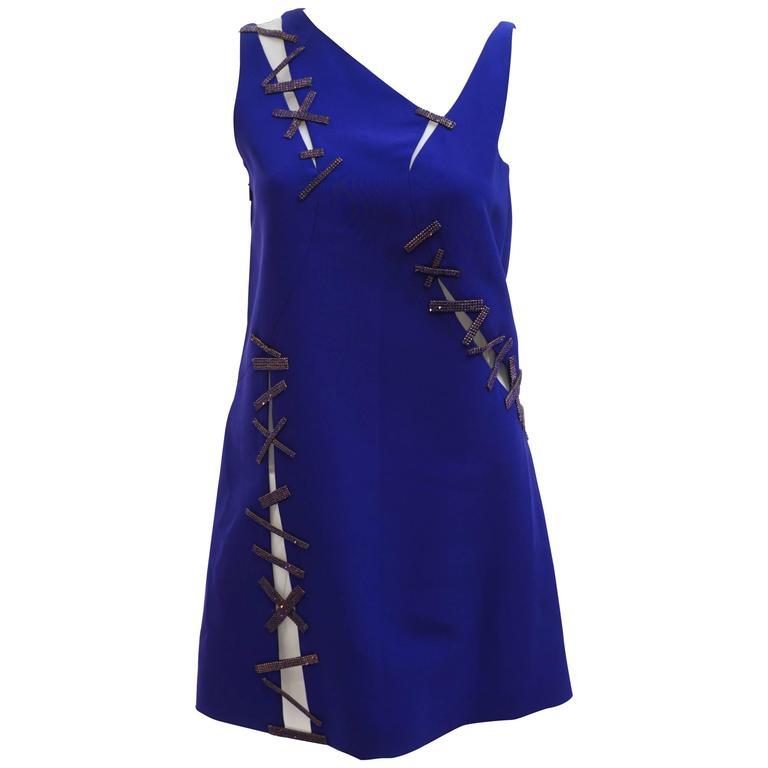 Versace Cut-out crystal embellished blue crepe dress