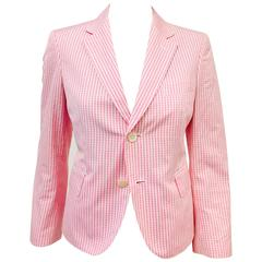 Comme des Garcons by Junya Watanabe Pink and White Gingham Blazer