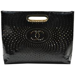 Chanel Black Perforated Patent Leather 'CC' Logo Clutch Handbag