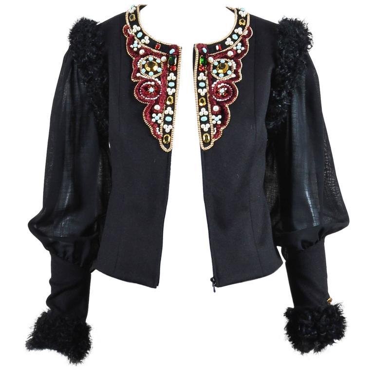 Chanel 09A Black Multi Cashmere Lamb Fur Trim Bead Embellished LS Jacket SZ 38 1