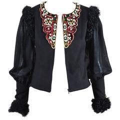 Chanel 09A Black Multi Cashmere Lamb Fur Trim Bead Embellished LS Jacket SZ 38