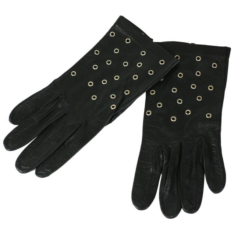 Grommet Trimmed Black Leather Gloves