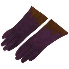 Violet Suede Gloves with Brown Cuffs