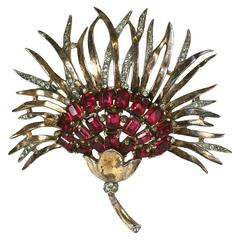 Trifari Retro Sterling Chrysanthemum Brooch
