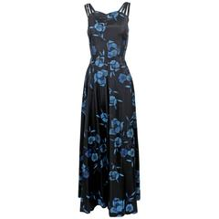 1930s Black and Blue Batik Floral Print Strappy Sleeveless Maxi Dress / Gown