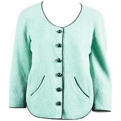 Chanel 12P Runway Mint Green Black Contrast Woven Knit Cropped Jacket SZ 38
