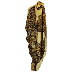 F/W 1986 Rare 8' x 4.5' Yves Saint Laurent Leopard Silk Scarf