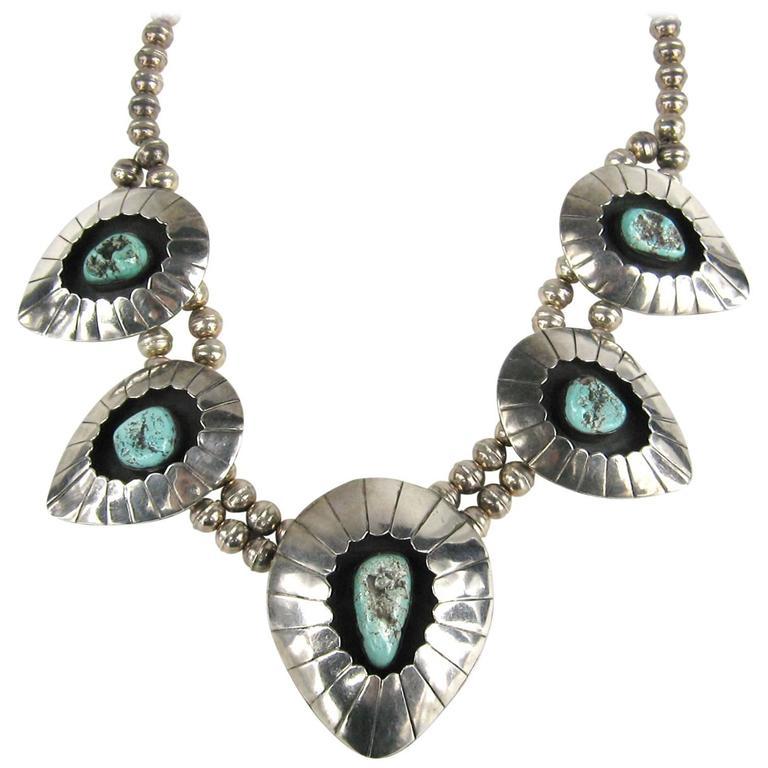 Navajo Shadow Box Squash Turquoise Matrix Sterling silver Necklace 1