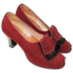 1930's Suede Burgundy Kiltie Tassel Peep-Toe Heel