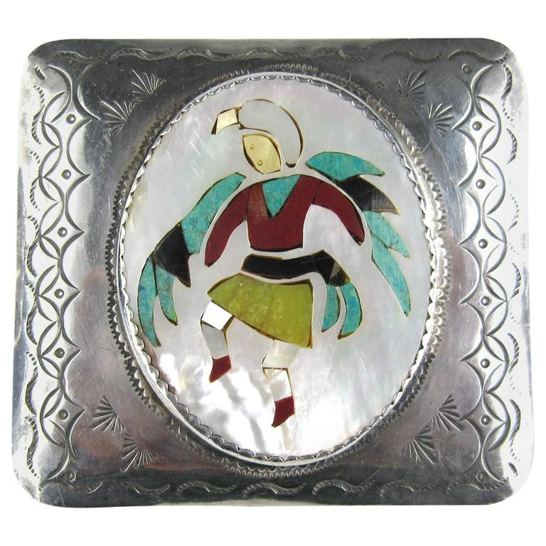 Zuni Native American kachina Inlaid Sterling Silver Belt Buckle  For Sale