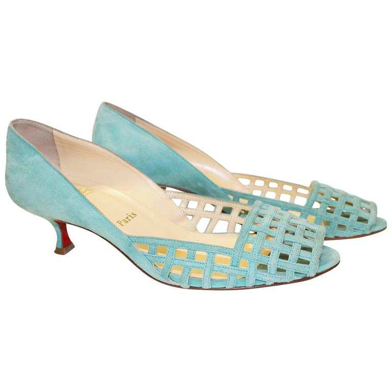Christian Louboutin Seafoam Green Birdcage Kitten Heel For Sale