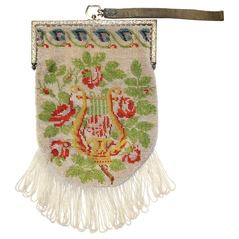 1920's Beaded Floral Wristlet Bag w/ Fringe For Sale