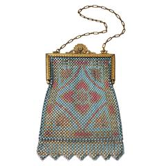 1920's Blue and Pink Enamel Mesh Purse