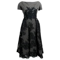 1950s Mort Mogel Black Lace & Charcoal Grey Net Full Skirt Cocktail /Party Dress