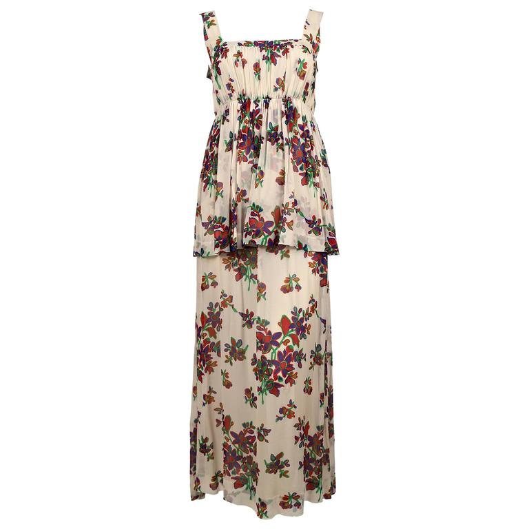 1970's YVES SAINT LAURENT floral silk chiffon long summer dress For Sale