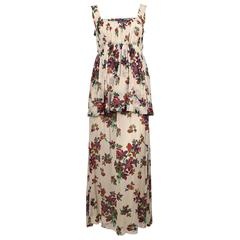 1970's YVES SAINT LAURENT floral silk chiffon long summer dress