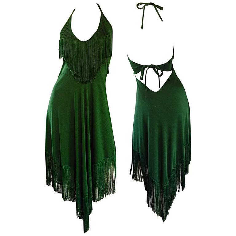 Spectacular 1970s David Howard Forest Green Fringed Handkerchief Vintage Dress For Sale