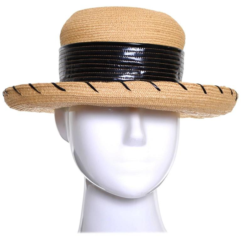 Schiaparelli 1960s Vintage Hat Straw Black Vinyl Laces  For Sale