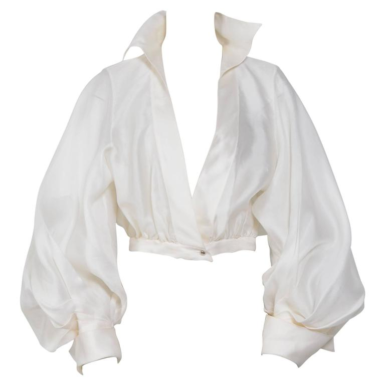 CLAUDE MONTANA VIntage Signature White Silk Blouse 1