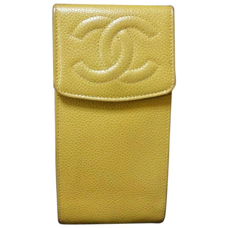 Vintage CHANEL yellow caviar phone case, sunglass, cigarettes, pen pouch case.