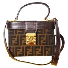 Vintage FENDI pecan stripe vanity purse with leather shoulder strap and trimming