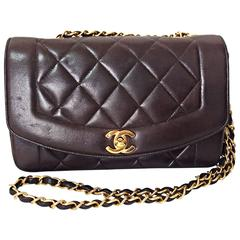 Vintage CHANEL dark brown, black color lambskin classic 2.55 shoulder bag