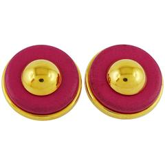 Hermes Vintage Pink Leather Clip-On Earrings