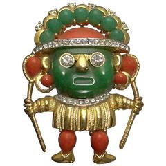 Hattie Carnegie Aztec Warrior Lucite Voodoo Brooch Pin