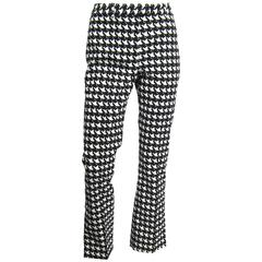 1990s John Galliano Hounds tooth Black & White Crop Pants