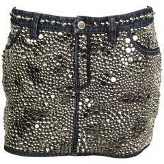 1990s Versace Denim Embellished Studded Mini Skirt