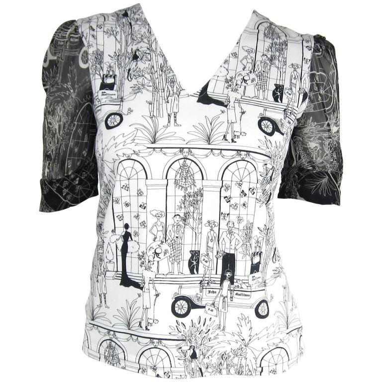 1990s John Galliano Whimsical Print Tee Shirt  1