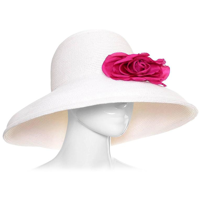 1990s Vintage Eric Javits Hat White Wide Brim Woven Straw Pink Flowers As New For Sale
