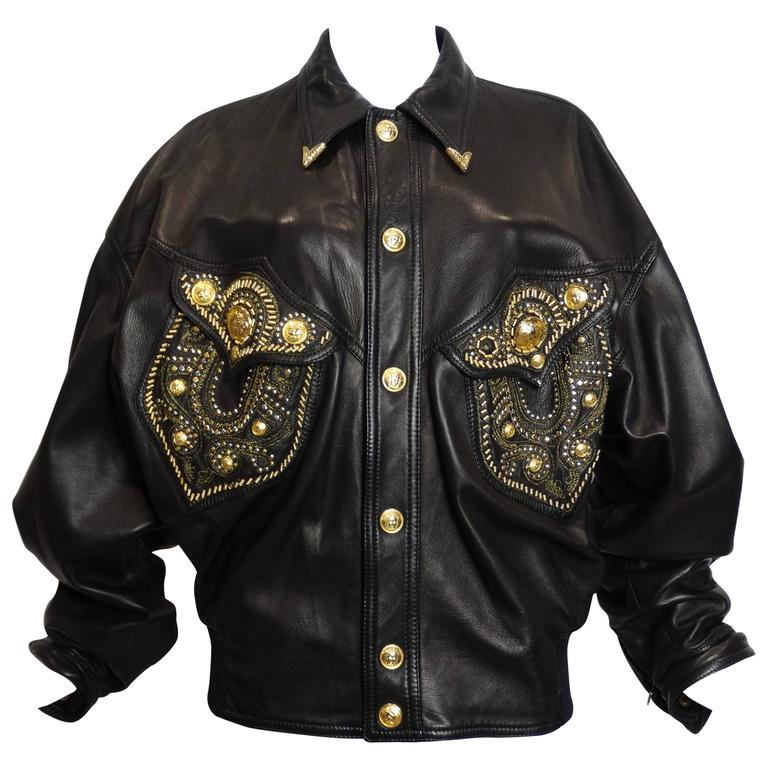 1990s Gianni Versace Couture Motorcycle Jacket  For Sale