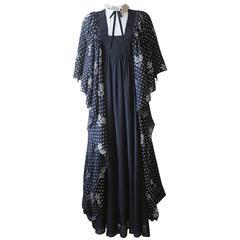 Gina Fratini crêpe-silk evening dress with star print, c. 1970