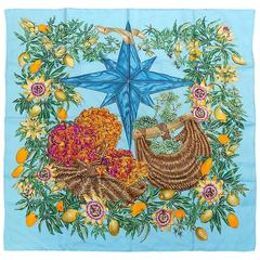 "Hermes Silk Scarf"" Passiflores"" By Valerie Dumoulin TURQUISE BLUE"