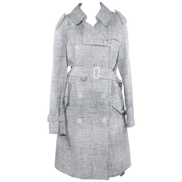 436764afdcaf Burberry Black and White Plaid Trench Coat For Sale at 1stdibs