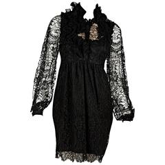Black Givenchy Ruffled Lace Dress