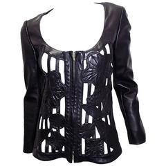 Gemma Kahng  Rare vintage Black Leather cutout / lace jacket zip front 1990's