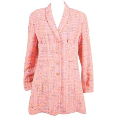 Vintage Chanel Boutique Pink Multicolor Longline Nubby Tweed LS Jacket SZ 42