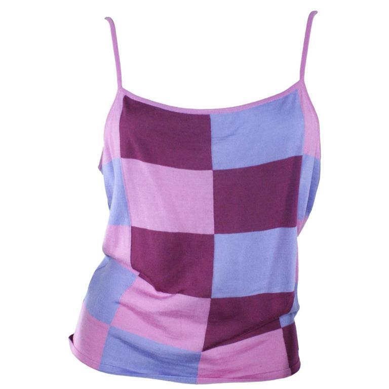 Chanel Pink Checkered Silk Knit Tank  1