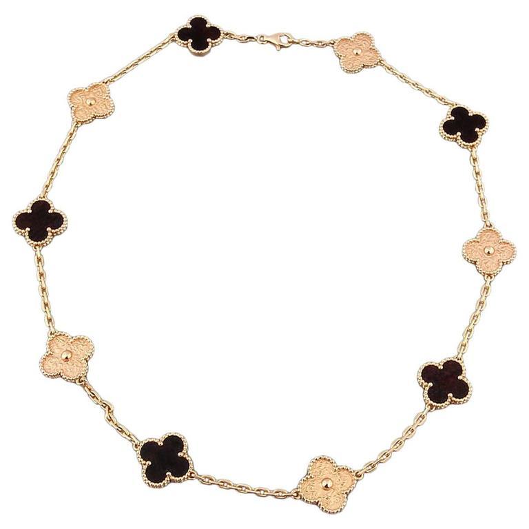 Van Cleef & Arpels Necklace Alhambra Collection 18k Rose Gold Bois D'Amourette