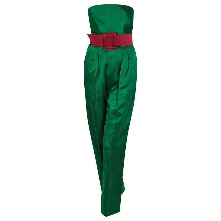 1982 Givenchy Haute-Couture Green Pink Satin Strapless Belted Jumpsuit & Jacket