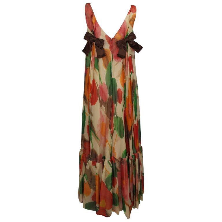 1960s Multicolor Florals Silk Organza Sleeveless Satin Bow Maxi Dress / Gown