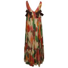 1960s Floral Print Silk Organza Sleeveless Satin Bow Maxi Dress /Gown