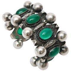 Italian Peruzzi Sterling Silver & Chrysophrase Etruscan Style Cuff Bracelet