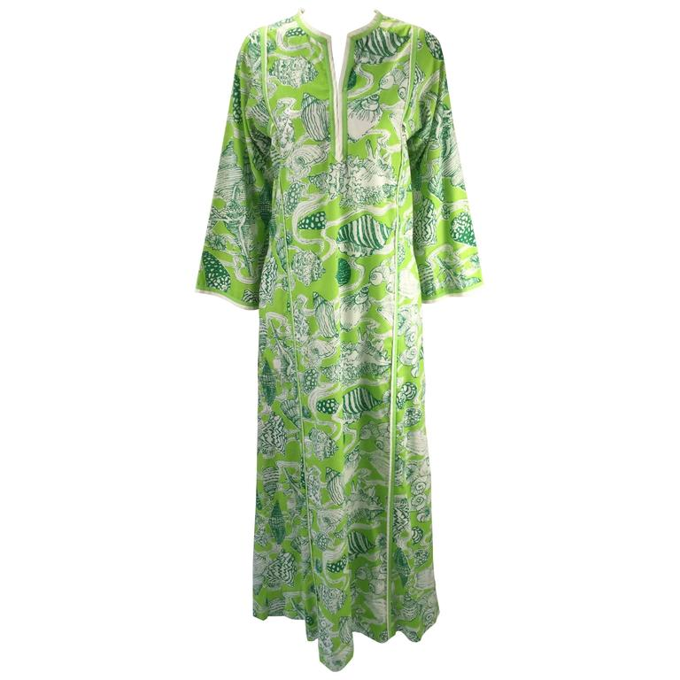 "Lilly Pulitzer ""The Lilly"" Green Sea Shell Print Kaftan, 1960s"