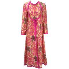 1960s Multicolor Silk Ikat Print Kaftan