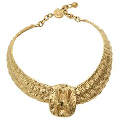 Signed Yves Saint Laurent Gold Plated Textural Sculptural Collar Necklace/ SALE