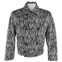 GIANNI VERSACE Men's 40 Black & White Zebra Print Cropped Double Breasted Jacket