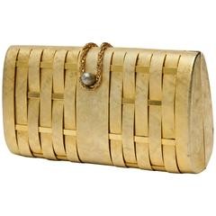 French Structured Gold Evening Clutch